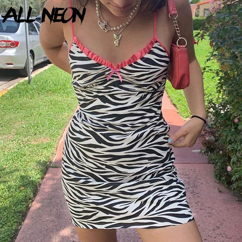 ALLNeon E-Girl Zebra Printing Spaghetti Strap Patchwork Cami Dresses Y2K Sweet Bow Front Backless Bodycon Mini Dress Party Wear(China)