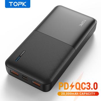 TOPK powerbank przenośny akumulator zewnętrzny 20 000 mAh USB-C technologia PD 3 0 Quick Charge 3 0 szybkie ładowanie do Xiaomi tanie i dobre opinie Bateria litowo-polimerowa Rok wybudowania kable Podwójny USB CN (pochodzenie) Micro Usb USB Typu C Z tworzywa sztucznego