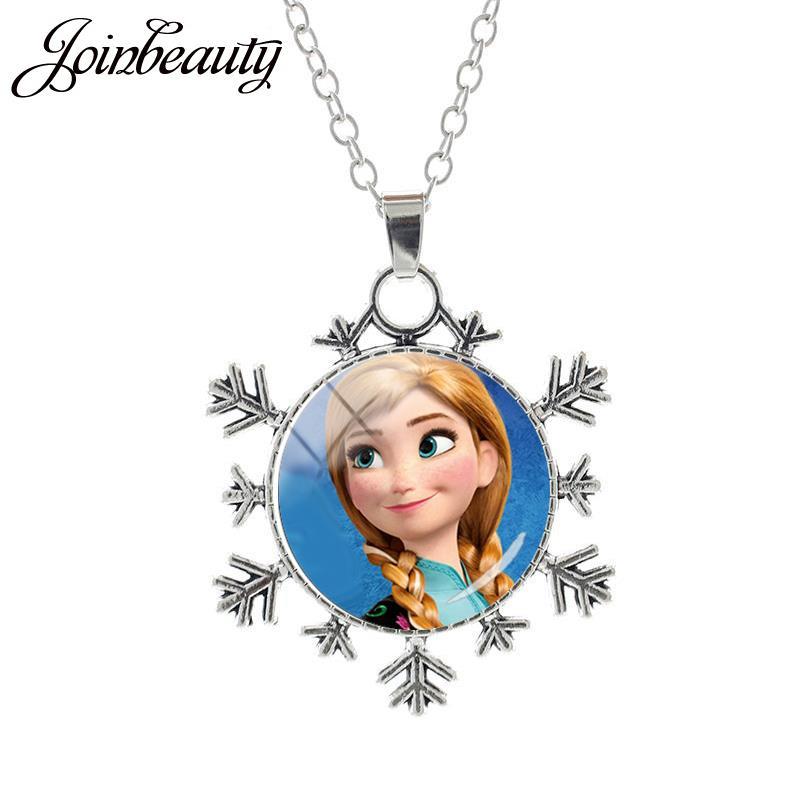 JOINBEAUTY Принцесса Эльза Анна снег кулон в виде королевы Ожерелье Дамы Снежинка Длинная цепочка Ювелирные изделия стекло кабошон для девочек SQ03 - Окраска металла: SQ12-25