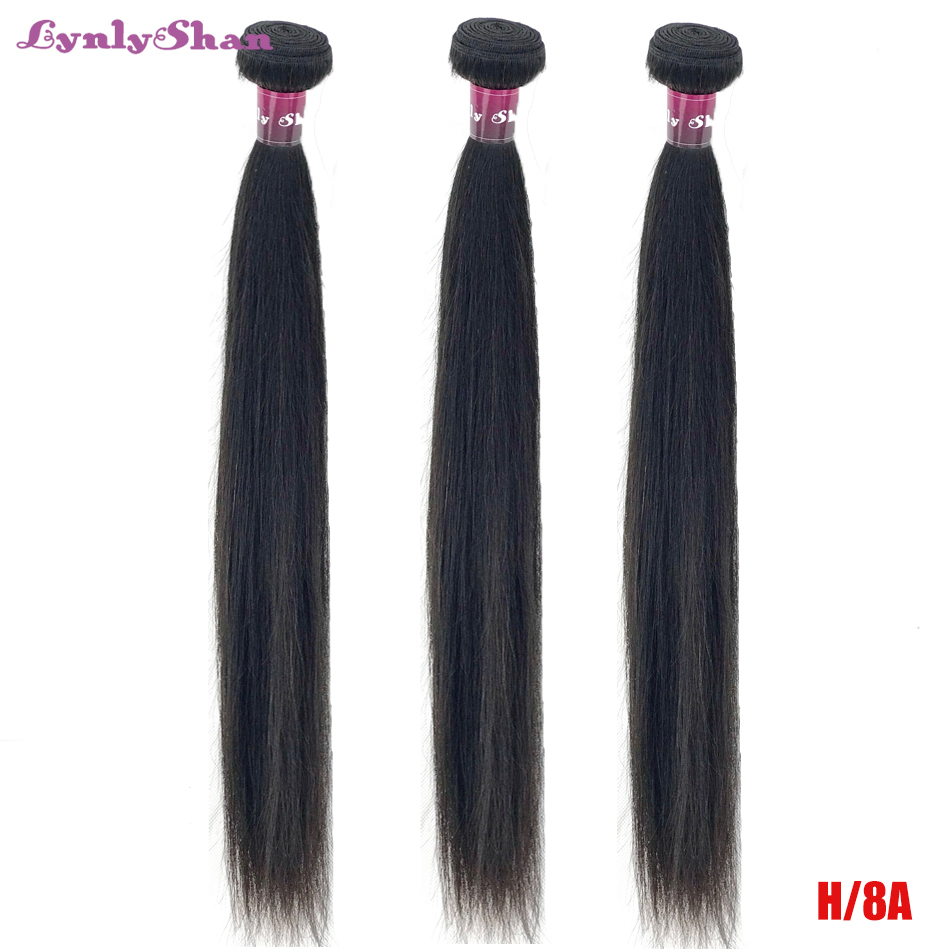 Lynlyshan Hair Brazilian Straight Hair Bundles Weave High Ratio100% Remy Human Hair Bundles Nature Color 8-30 Inch Free Shipping