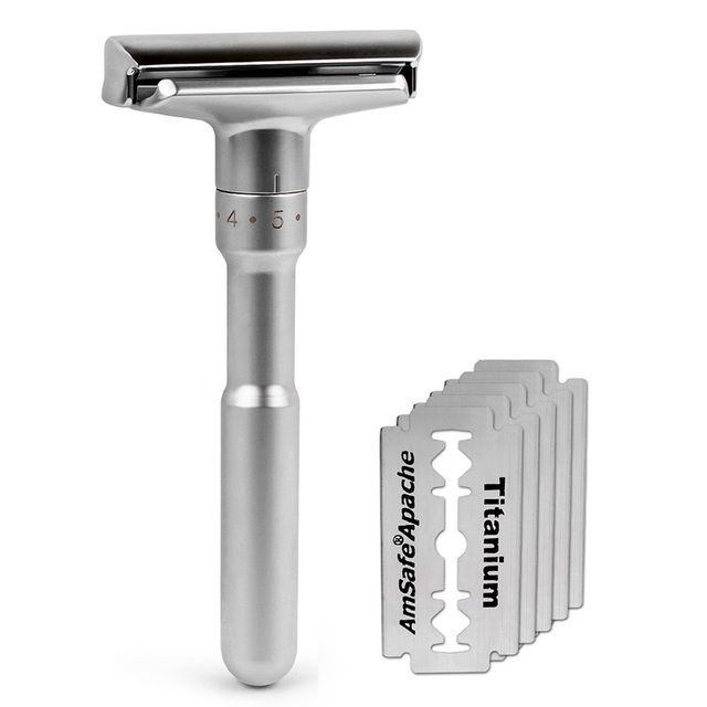 Adjustable Safety Razor Qshave Mens Shaving Double Edge Classic Safety Razor Blade Exposure Six Levels 1 handle & 5 blades 1