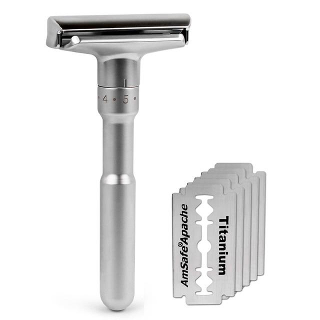 Adjustable Safety Razor Qshave Mens Shaving Double Edge Classic Safety Razor Blade Exposure Six Levels 1 handle & 5 blades 1