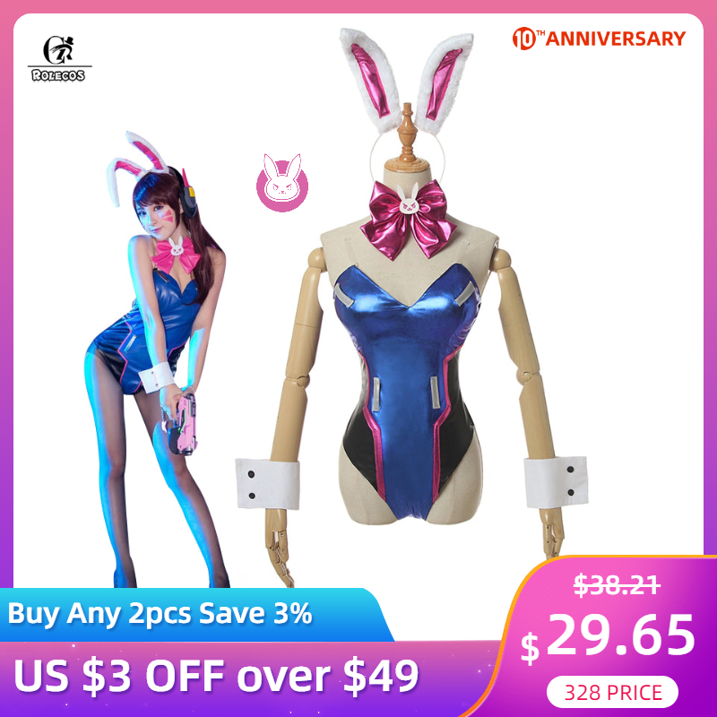 ROLECOS DVA Cosplay Women Sexy Costume Song Hana Bunny Girl Cotume Game OW Jumpsuit Women Romper Over Watch