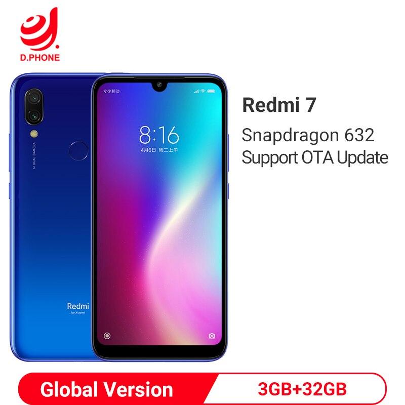 Versão global xiaomi redmi 7 3 gb ram 32 gb rom snapdragon 632 octa núcleo 12mp 6.26