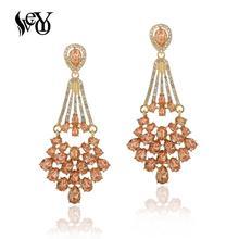 цена на VEYO Luxury Vintage Crystal Drop Earrings Hollow out Rhinestone Dangle Earrings for Women Fashion Jewelry Gift