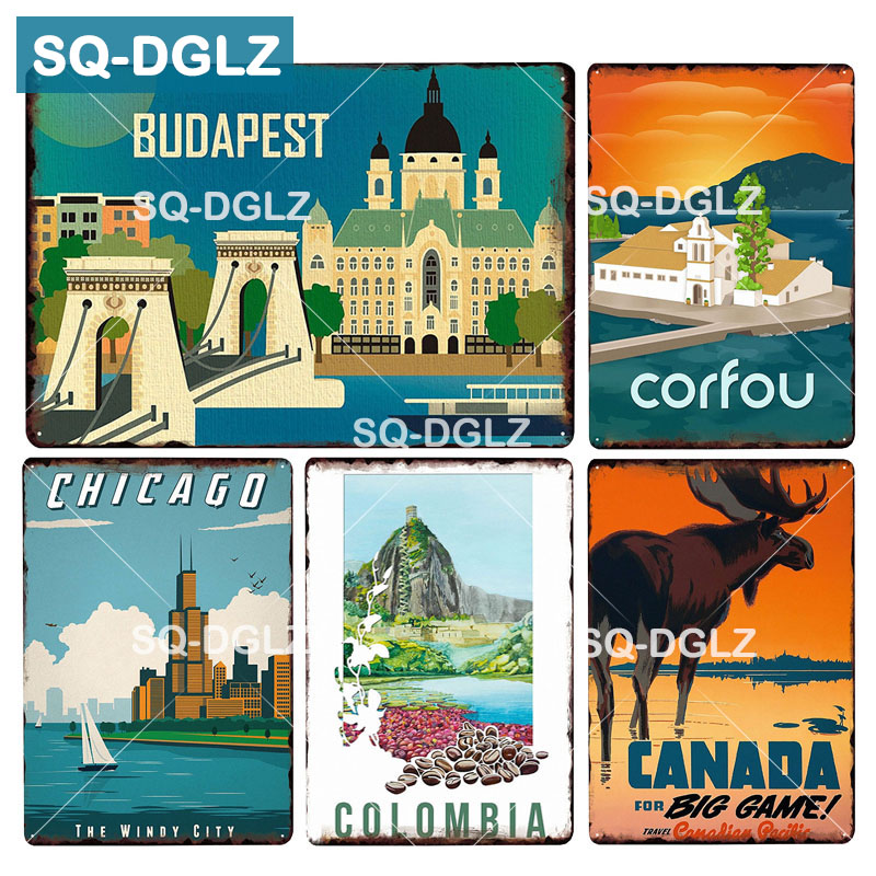 [SQ-DGLZ] North America City Metal Sign Tin Sign Vintage Decor Plaque Crafts Home Decor Painting Plaques Art Poster image