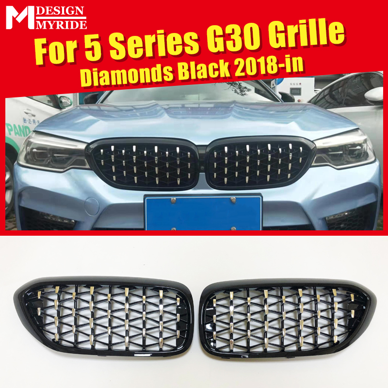 G30 Grills Diamonds Grille 1 Pair Fits For 5 series 520i 530i 540i 540iXD ABS Gloss Black  Front Bumper Kidney Grille Mesh 18-in