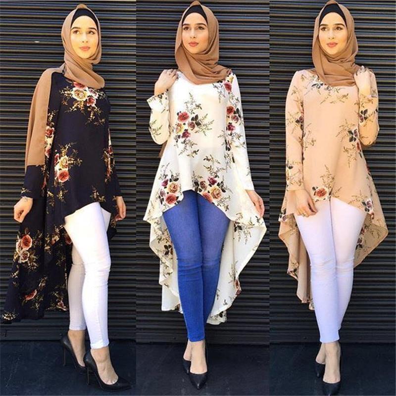 Dubai Arab Muslim Blouse and Shirt Women Print Floral Asymmetry Hem Loose Hijab Tops Islam Dovetail Blouses Islamic Clothing
