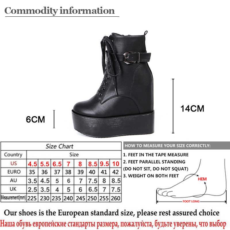 Gdgydh الأبيض الدانتيل يصل منصة حذاء من الجلد للنساء مريحة أسافين أحذية عالية الكعب القوطي مشبك أسود جلد نوعية جيدة
