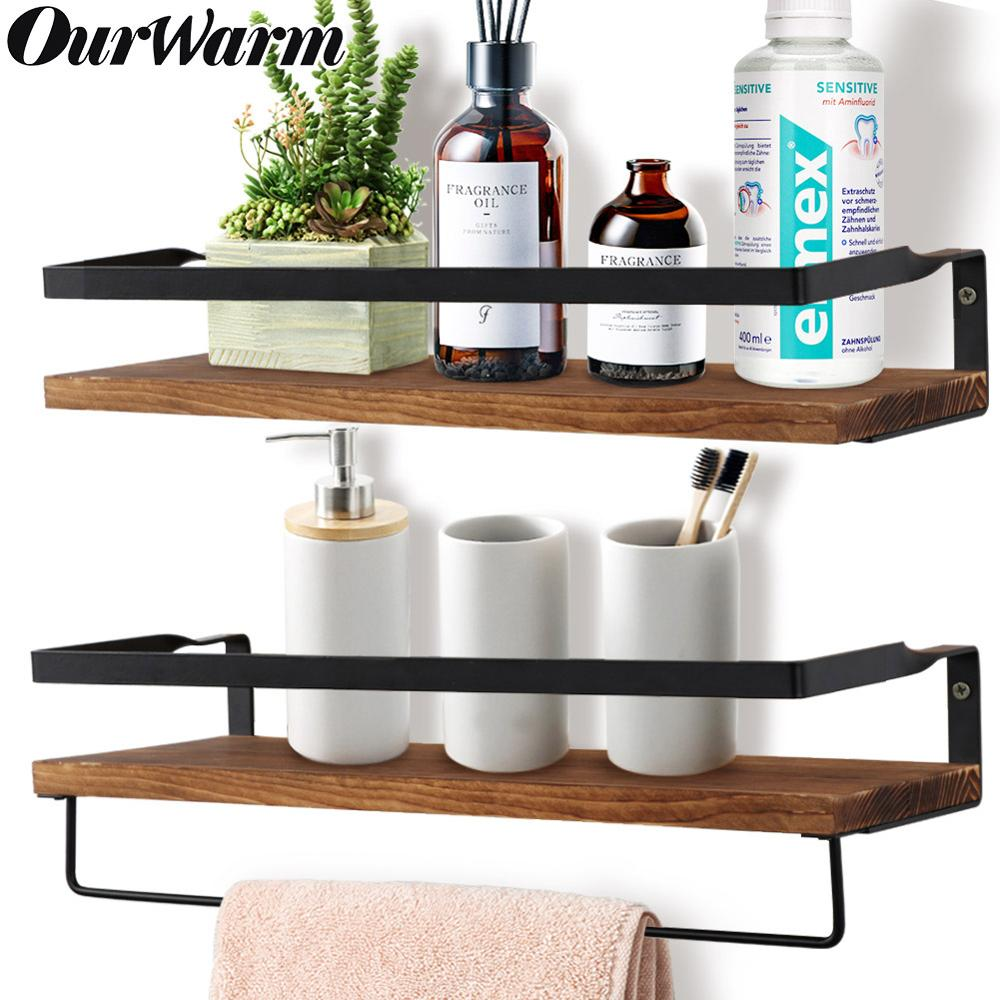 Wall Shelf Decorative Metal Wooden Rustic Floating Shelf Storage For Kitchen Bathroom Towel Frame Multifunction Storage Holder