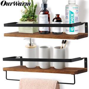 Wall Shelf Decorative Metal Wooden Rustic Floating Shelf Storage for Kitchen Bathroom Towel Frame Multifunction Storage Holder(China)