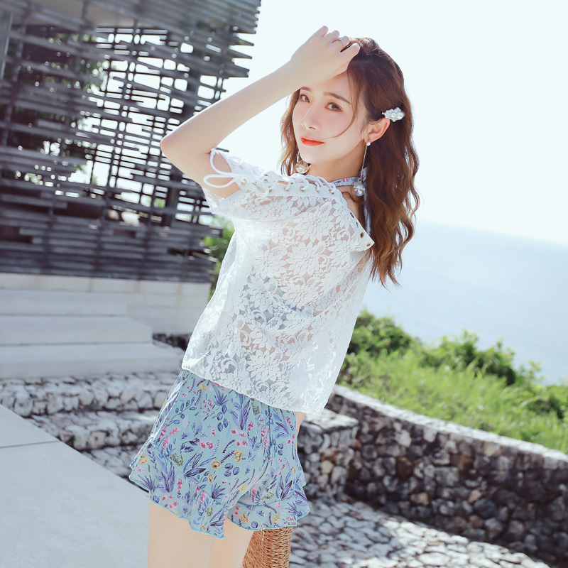 Korean-style New Style Hipster Floral-Print-Style Two-piece Swimsuits Loose-Fit Blouse Four-piece Set Bathing Suit Women's Conse
