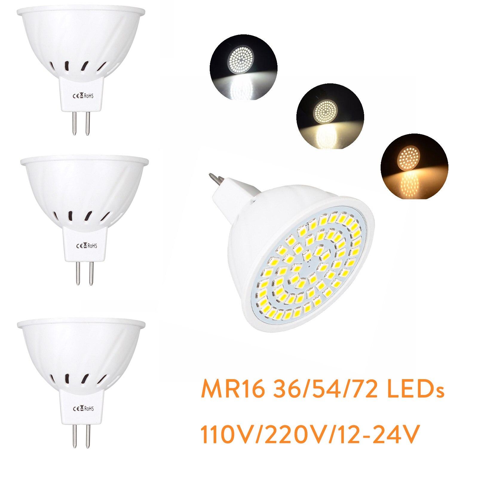 MR16 12 V-24 V светодиодный лампы светильник 220V SMD 2835 Светодиодный точечный светильник с лампой мощностью 4W 6W 8W 36 54 72 светодиодный теплый холодный ...