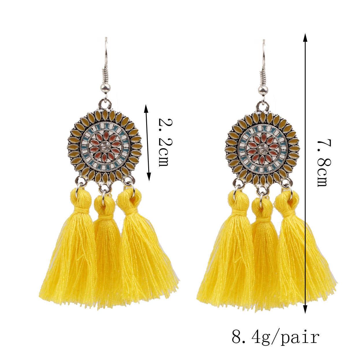 ใหม่ขนาดใหญ่ยาวพู่สีเหลืองต่างหูผู้หญิงงบดอกไม้ Fringe ต่างหู Retro Boho Drop Dangle ต่างหูเครื่องประดับ