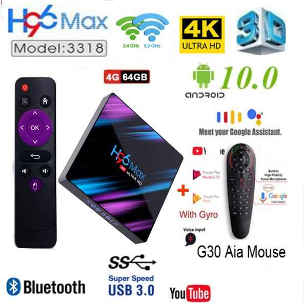 H96 Max Android 10 RK3318 Smart Tv Box 2.4G & 5G Dual Wifi BT4.0 2020 H96Max 4G 64G Mediaspeler G00gle Voice Afstandsbediening