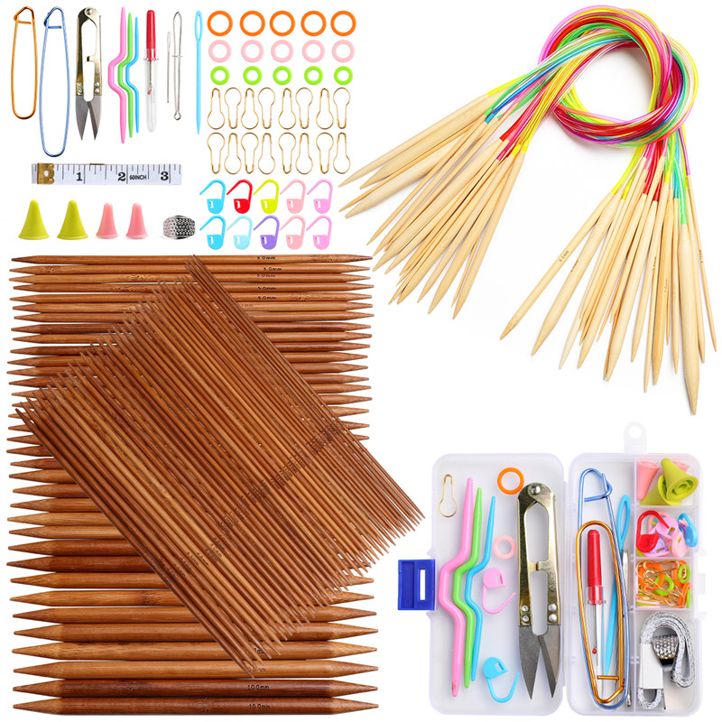 18 Pairs Bamboo Circular Knitting Needles 75 Pcs 15 Sizes Bamboo Double Pointed Knitting Needles Set Weaving Tools Knitting Kits