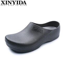 Cozinha do hotel tamancos não-deslizamento sapatos de chef casual sapatos de trabalho plano respirável resistente cozinha cozinhar sapatos de trabalho tamanho mais 37-46