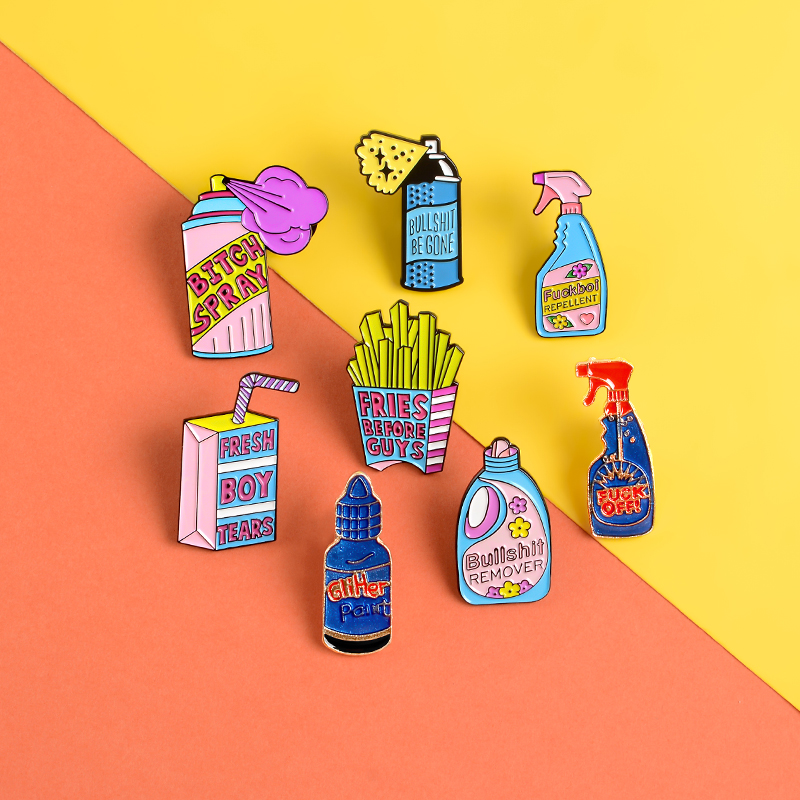 Repellent Button Pins Detergent Boxed Drink French Fries Pink Enamel Pin Badges Big Bottle Spray Brooches For Women Jewelry Gift