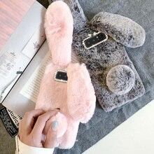 กระต่ายน่ารักหูสำหรับ Samsung Galaxy S21 S20 Ultra FE S10 S9 S8 Plus หมายเหตุ20 10 8 9 pro Diamond Soft TPU Plush โทรศัพท์