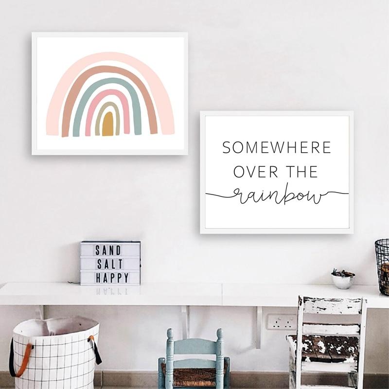 3 Rainbow When it Rains Cloud Prints Nursery Wall Art Decor Girls Room Pictures