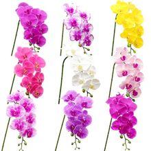 Латекс 9 глав искусственная Орхидея 25 Цвета большой Размеры искусственный фаленопсис кремния полиуретан с эффектом реального прикосновени...