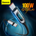 Baseus PD 100W USB Type C to USB C Cable Fast Charging Data Cable 5A Quick Charge 4.0 QC 3.0 For Xiaomi Huawei Samsung MacBook