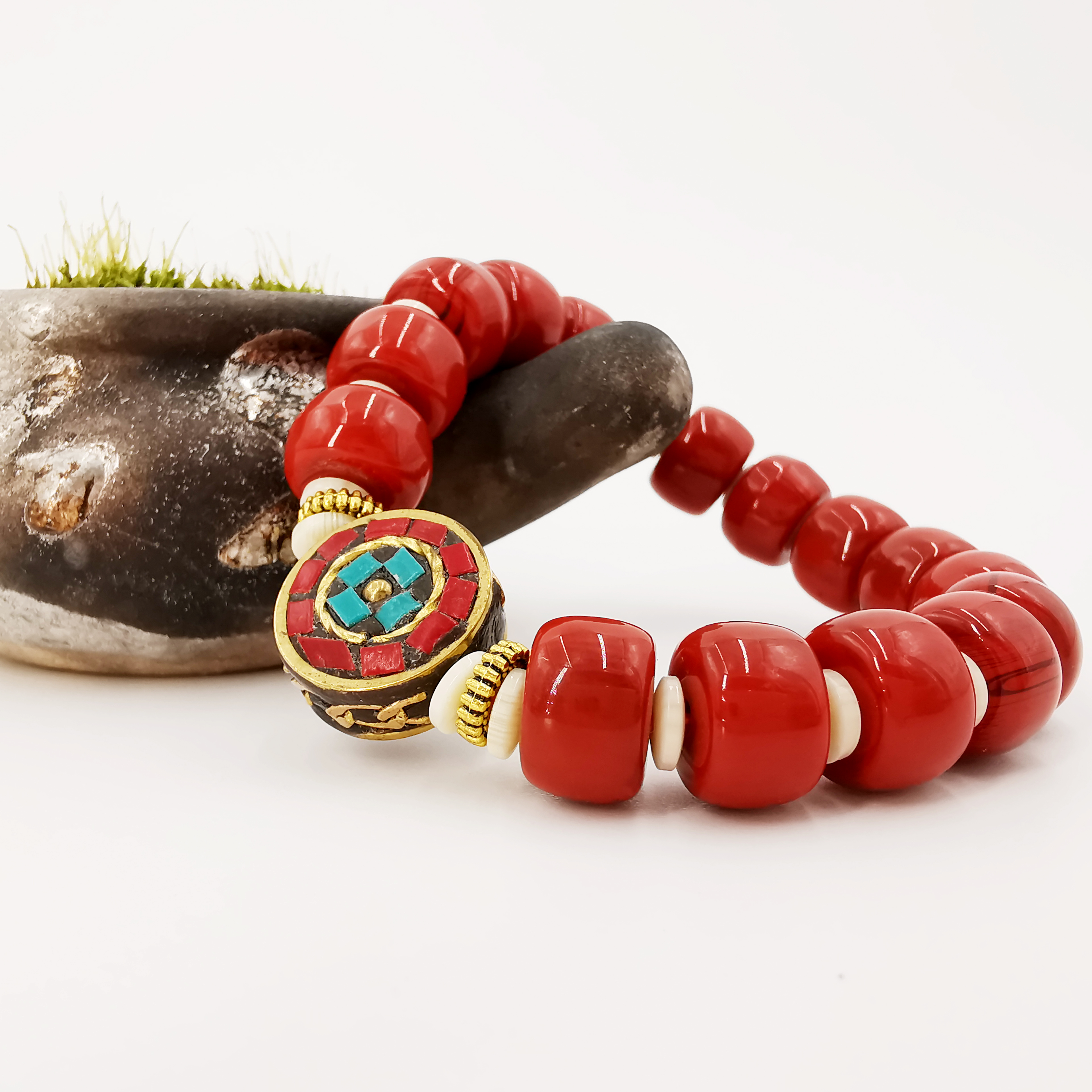Ethnic Red Artificial Coral Round Beads Handmade Tibetan Buddha Bracelet Chain Women Men Lucky Charm Jewelry Gift Drop Shipping