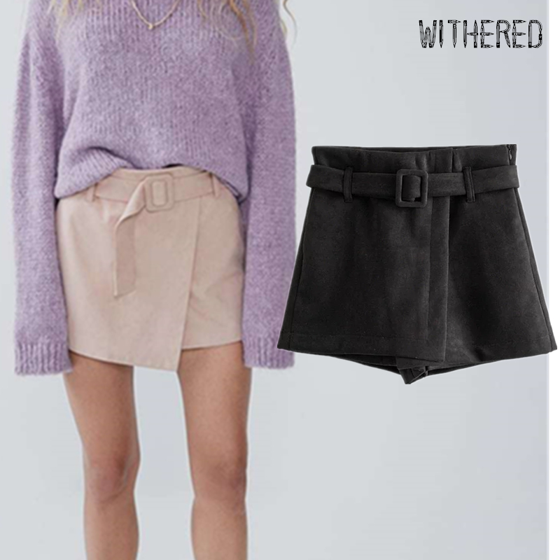 Withered Winter Suede Culotte Shorts Women England Style Simple Solid Sashes Sexy Leather Short Feminino Plus Size Women Short