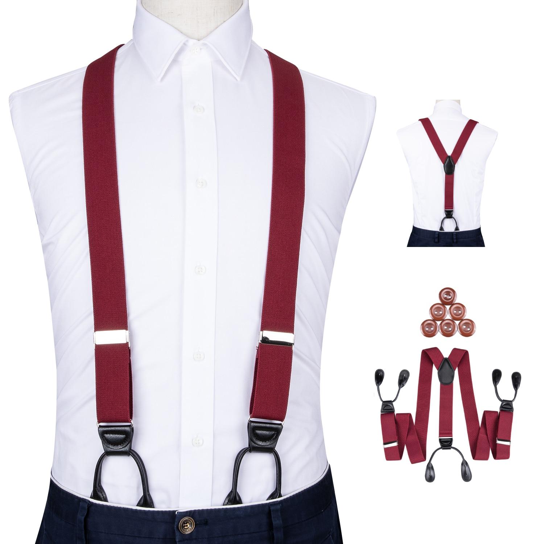 Adjustable Elasticated Adult Suspender Leather Trimmed Button End Y Back Mens Trouser Suspenders Heavy Duty Pants Braces DiBanGu