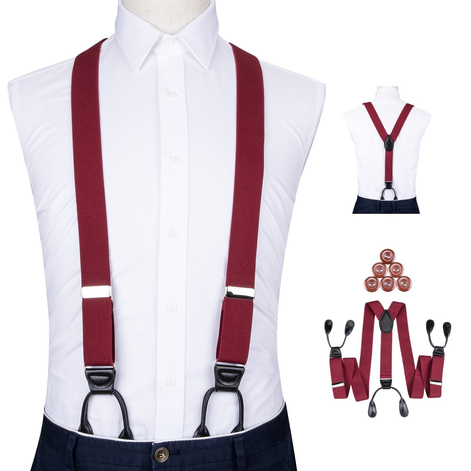 Adjustable Elasticated Adult Suspender Leather Trimmed Button End Y Back Mens Trouser Suspenders Heavy Duty Pants Braces DiBanGu image