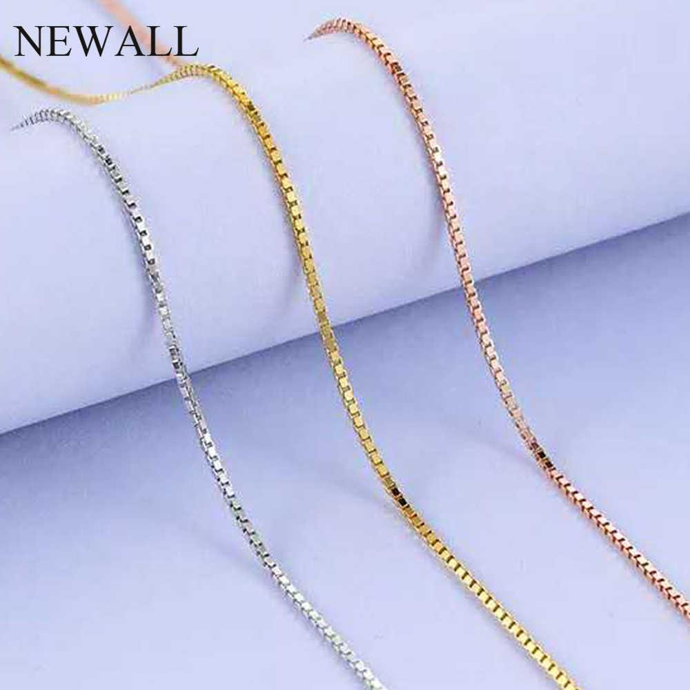 Newall 1.2mm 1.5mm ze stali nierdzewnej złoty łańcuch pole naszyjnik 47CM + 4cm przedłużyć łańcuch dostosowuje mężczyzn damska biżuteria hurtowych