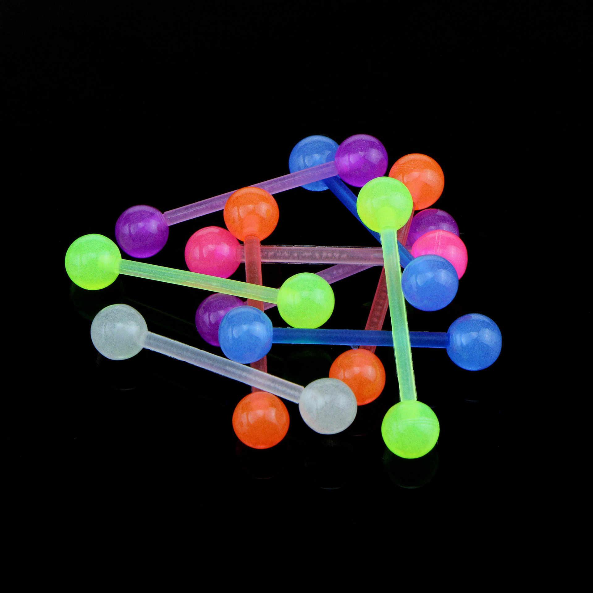 זוהר בחושך לשון פירסינג 1Pc אקריליק צבעוני Bioflexible רך לשון ברבל טבעות פטמה ברבל נשים גוף תכשיטים