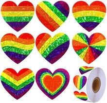 Cinta adhesiva de 1 pulgada para el Día de San Valentín, cinta de Corazón Arco Iris a rayas, amor, Orgullo Gay, 100-500 Uds.