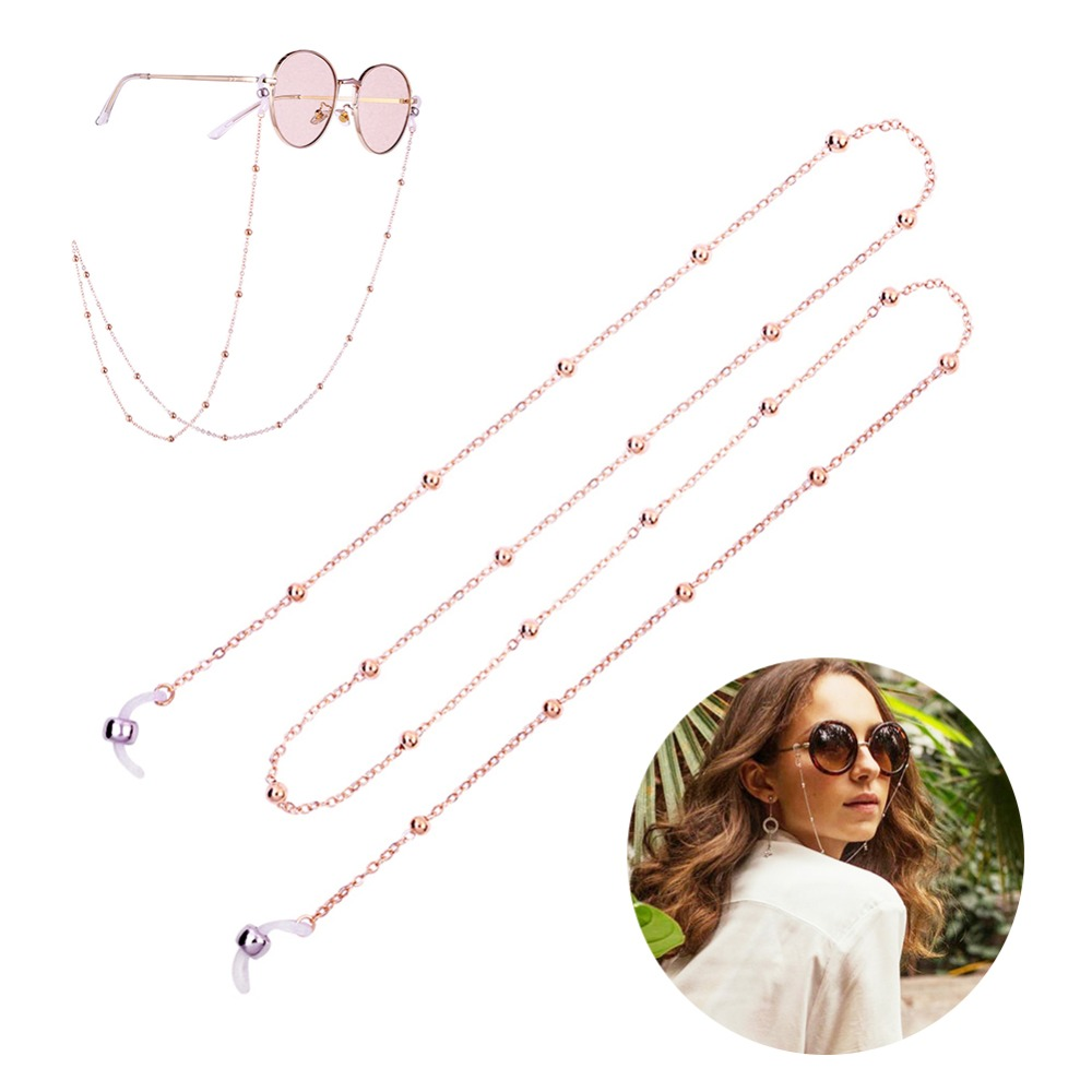 Fashion Womens Gold Silver Eyeglass Chains Sunglasses Reading Beaded Glasses Chain Eyewears Cord Holder neck strap Rope (1)