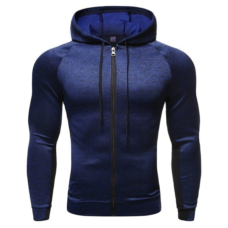 Hooded Fitness Sport Jacket Coat Men Quick Dry Running Jacket Zipper Hoody Sweatshirt Sportswear Gym Hoodies Training Clothing