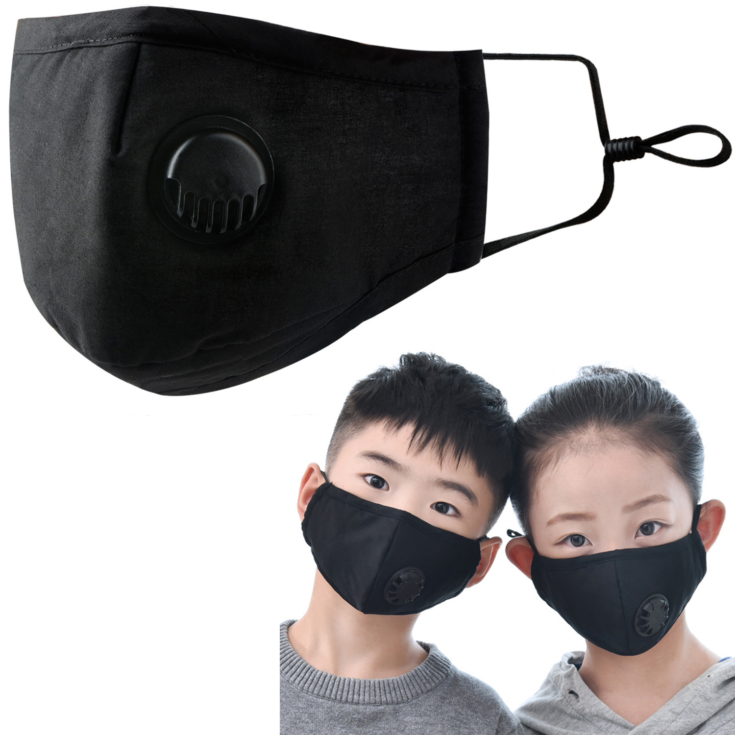 Face Mask Dust Mask Anti Pollution Mask PM2.5 Activated Carbon Filter Insert Breathable Valve Mask Mouth Cover For Children