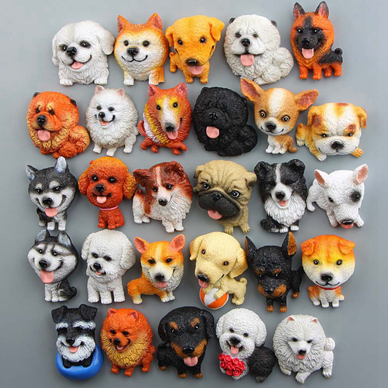 1Pcs/set Cartoon Cute Mini Husky Bulldog Fridge Magnet Kid Early Education Dog Magnetic Stickers For Fridge Resin Figure Sticker