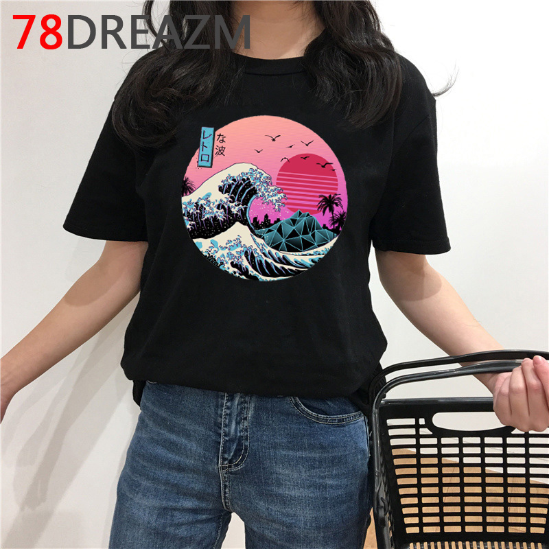 Funny Vaporwave T Shirt Men Summer Top Cartoon T-shirt Aesthetic The Great Wave Graphic Tees Oversized Unisex Streetwear Male image