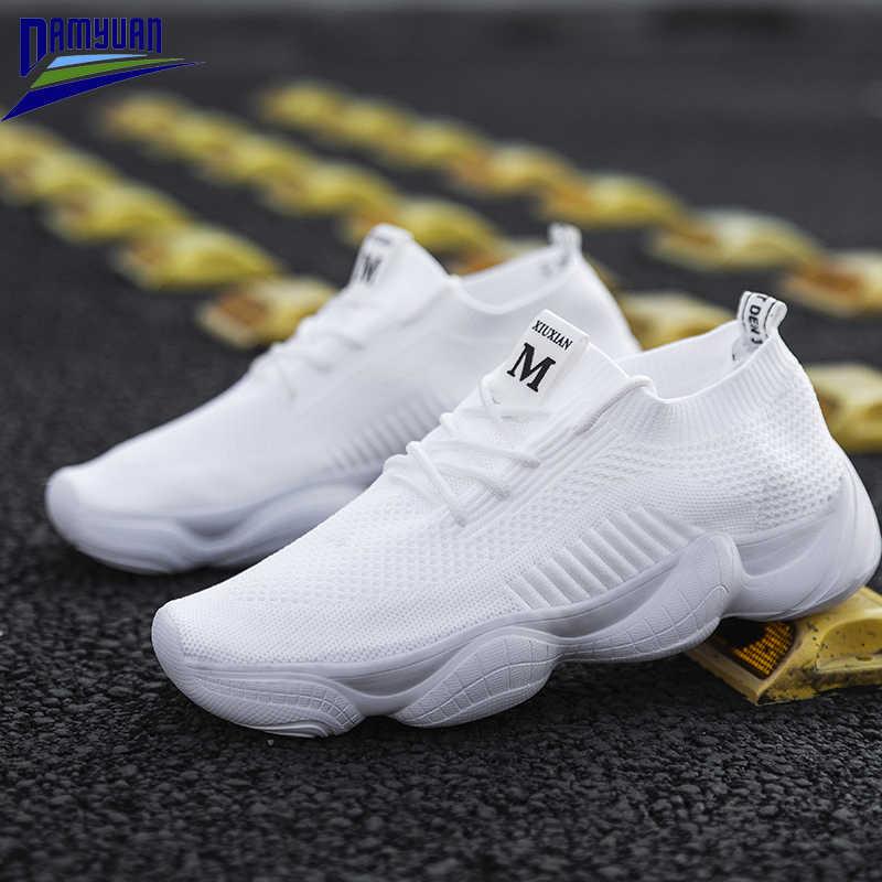 Damyuan düz renk kadın ayakkabısı nefes örgü severlerin ayakkabı Zapatos De Mujer platformu Sneakers yaz yumuşak koşu ayakkabısı