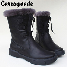 Careaymade-All-Cow leather, pure wool non-skid thick-soled and large cotton boots with warm snowfield comfort in winter
