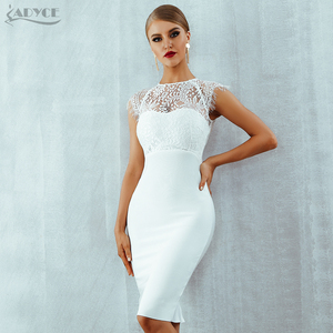 Adyce 2020 New Summer Women White Bandage Dress Vestidos Sexy Black Lace Short Sleeve Hollow Out Club Dress Evening Party Dress