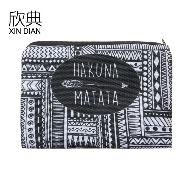 New KAKUNAMATA 3D Black-and-White Printed Cosmetic Bag Handbag For Women