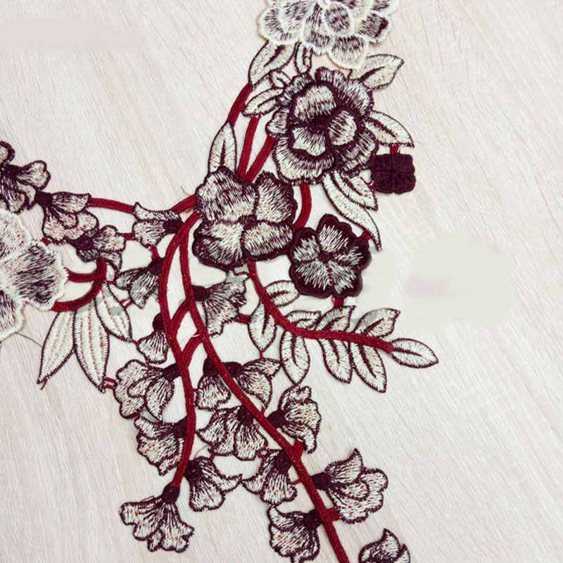 Bunga Renda Bordir Jahit Baju Bordiran DIY Aksesori Stiker Renda Leher Kerah Scrapbooking Patch Pakaian