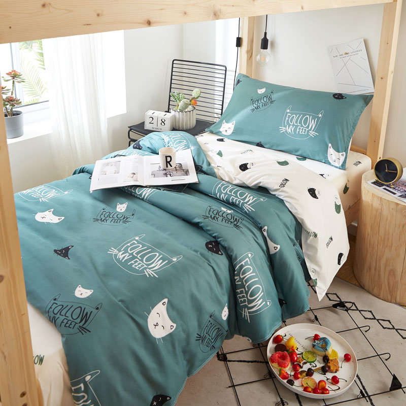 College Students Dormitory Beddings Three-Piece Set Bed Sheet Quilt Cover Quilt Denim Girl Heart Single Suite