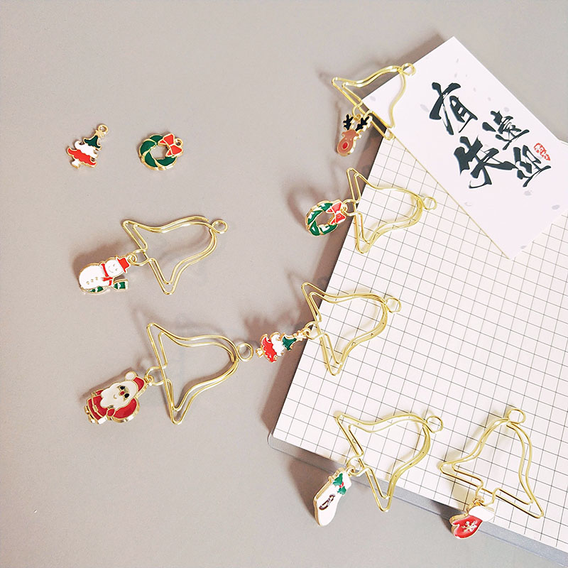5 Pcs/box Lovely Gold Metal Christmas Paper Clips Bell Shape Kawaii Bookmark Christmas Elk Paperclip INS Pendant Paper Clip