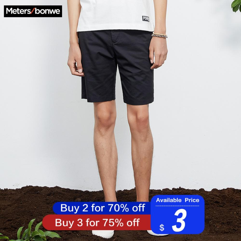 Metersbonwe Men's Summer Casual Shorts Cotton Short Pants Fashion Streetwear Shorts Solid Color Breathable Plus Size Student New