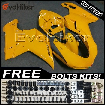 Custom fairing for 848 1098 1198 2007-2012 ABS plastic motor panels kit Injection mold yellow+gifts