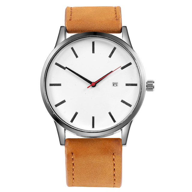 2020 Fashion Minimalist Watches Men Sports Watches Leather Band Quartz Watches No Logo Men Watches Gifts Cheap Price Dropship