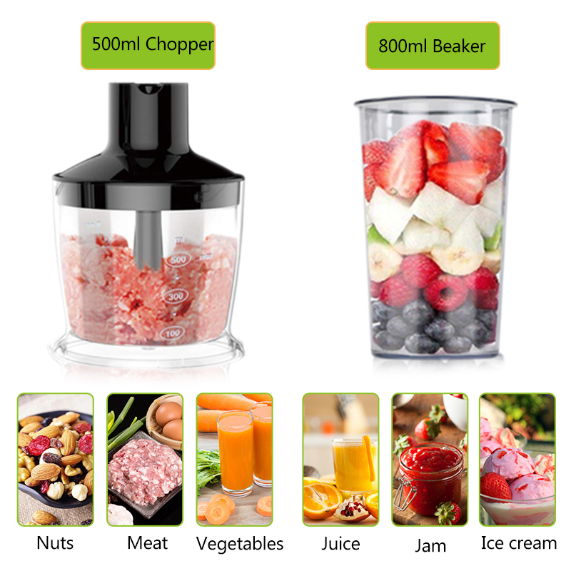 H965e876697e0446e9d2821797944b005d 4-in-1 Stainless Steel 1100W Immersion Hand Stick Blender Mixer Vegetable Meat Grinder 500ml Chopper Whisk 800ml Smoothie Cup
