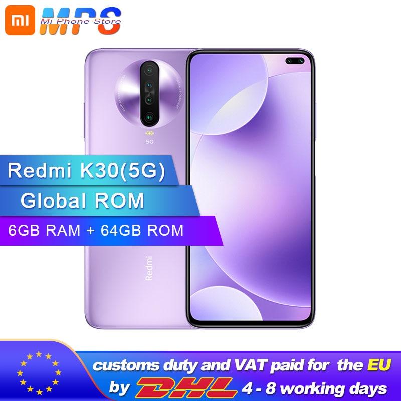 "Global ROM Original Xiaomi Redmi K30 5G 64GB 6GB Snapdragon 765G Octa Core Smartphone 6.67"" 64MP Quad Rear Camera 4500mAh"